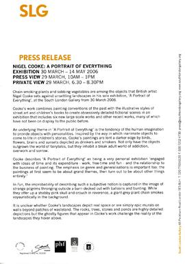 Nigel Cooke Press Release, page 1