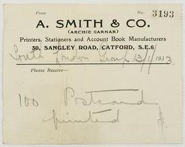 Receipt from A. Smith & Co (postcards)