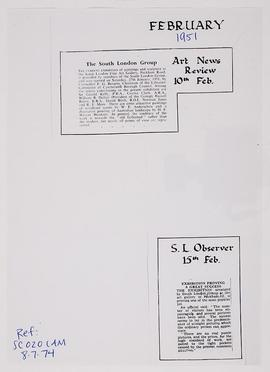 Press cuttings: South London Group exhibition, 1951
