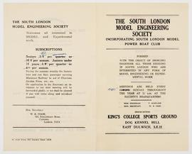 South London Model Engineering Society Pamphlet, 1