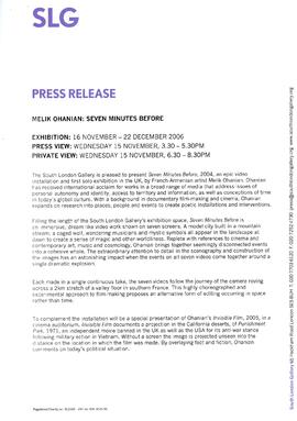 Melik Ohanian Press Release, page 1