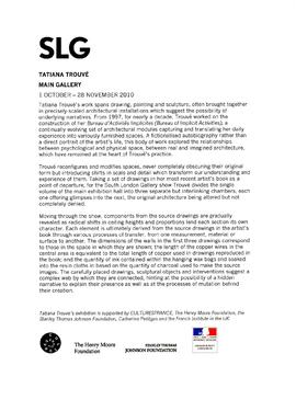 Tatiana Trouvé Press Release, page 1
