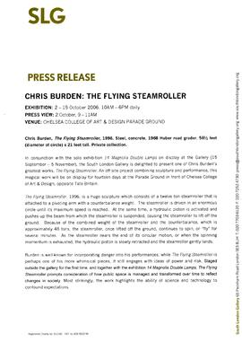 Chris Burden: The Flying Steamroller Press Release, page 1