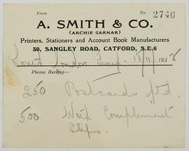 Receipt from A. Smith & Co
