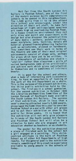 Peckham School Art Pamphlet, inside text